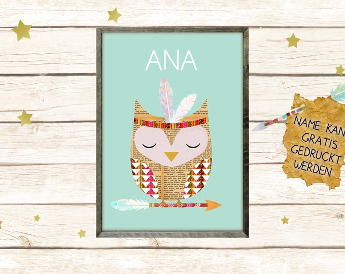 A3 Poster-Indian Owl with Name