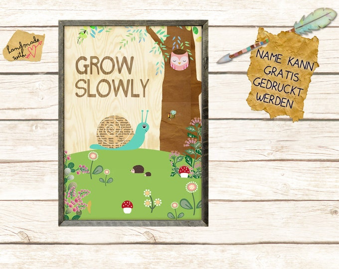 Grow slowly with snail children's room poster A3
