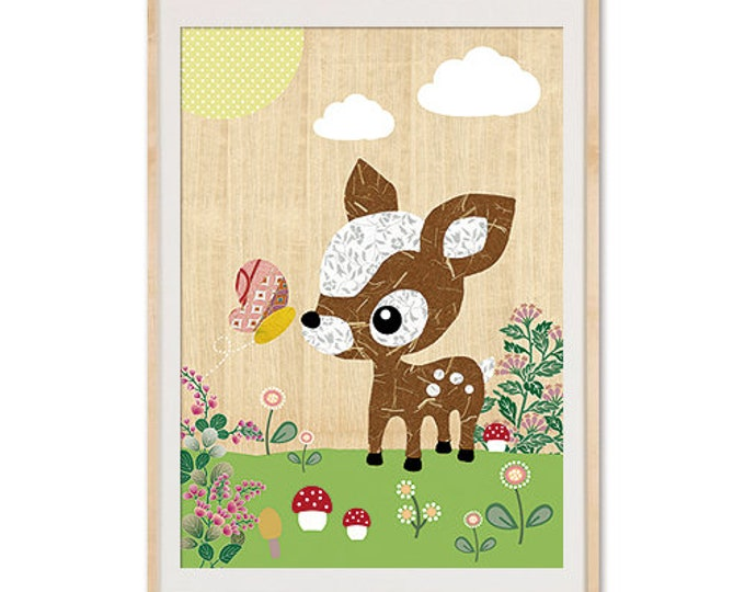 Sweet deer in spring on wood background