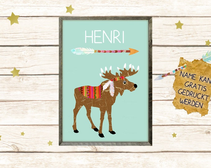 A3 Poster-Indian Moose with Name