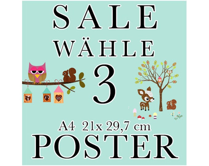 Sale 3 Posters of your choice in A4 format