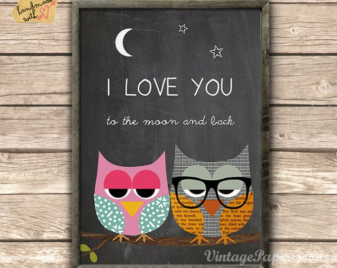 I love you to the moon and back-owl posters
