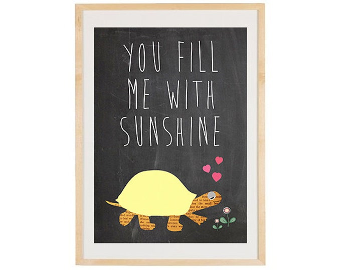 You fill me with sunshine snail on blackboard