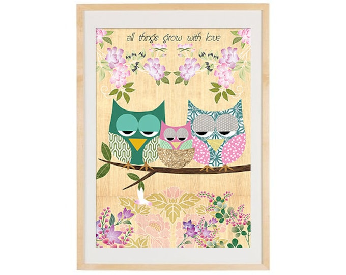 A3-mom, Dad and baby owl-Grow with Love