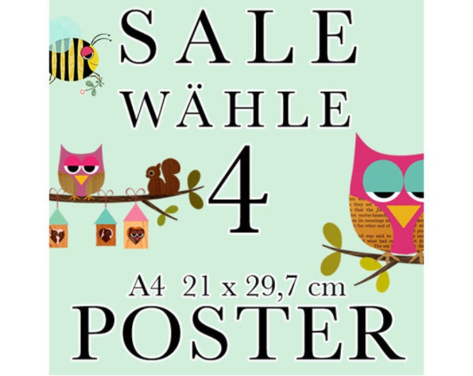 Sale 4 Posters of your choice in A4 format