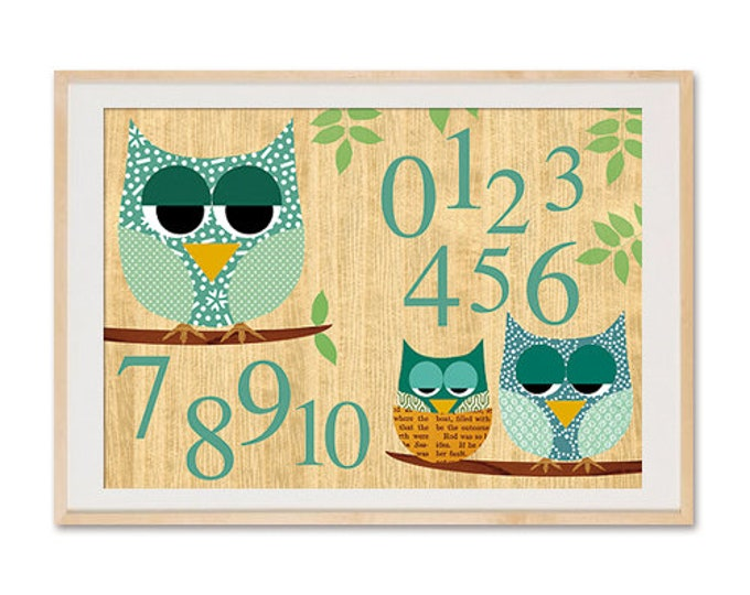 A3 format-With owl numbers learn children posters