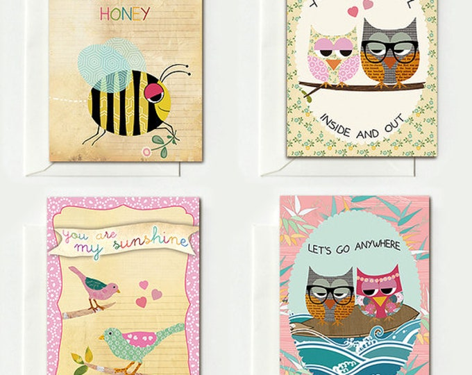 4 Cute cards-for lovers nerd owls