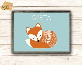 A3 sleeping Fox with baby name poster