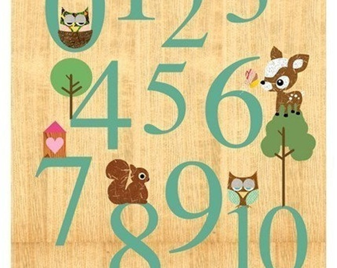 New A3-1-10 numbers learn with animals on wood