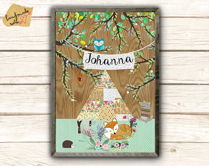 Name and tent in the garden children's room poster