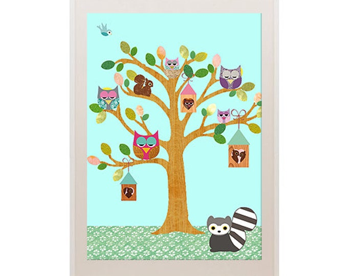 Owls in the tree with raccoon posters