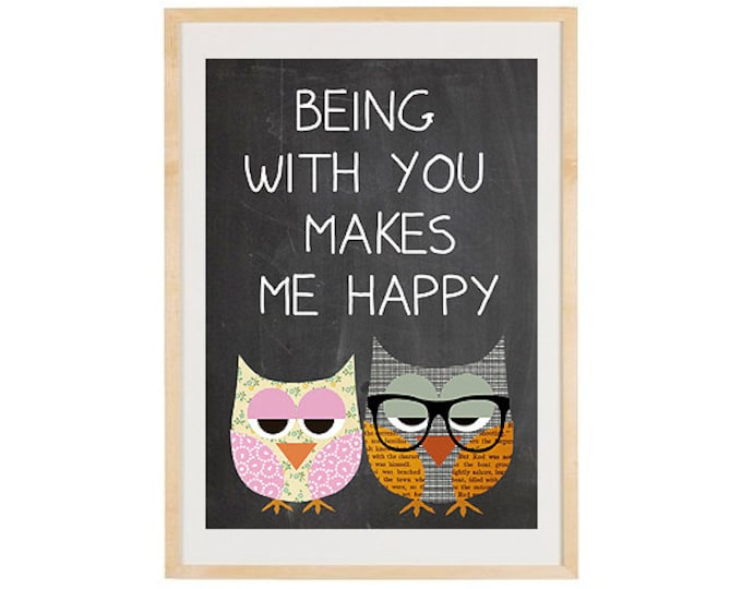 Being with you makes me happy-love owls