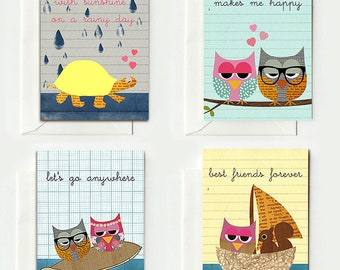 4 Sweet cards for lovers and best friends