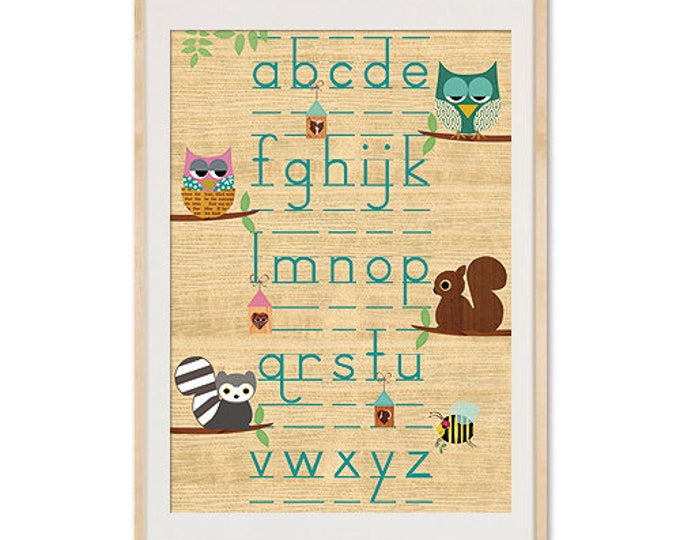 A3 Poster-ABC Learn with animals on wood