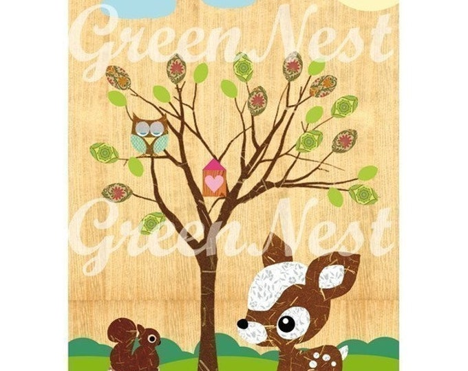 Forest Animals-owl, deer, squirrel collage