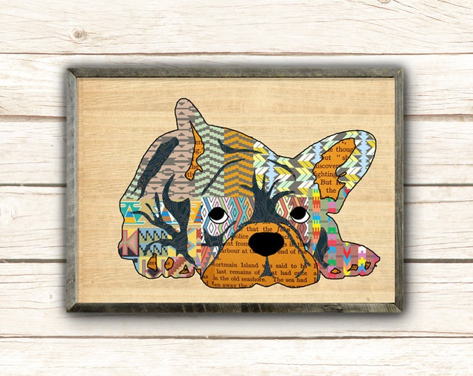 Cute bulldog collage on wood background