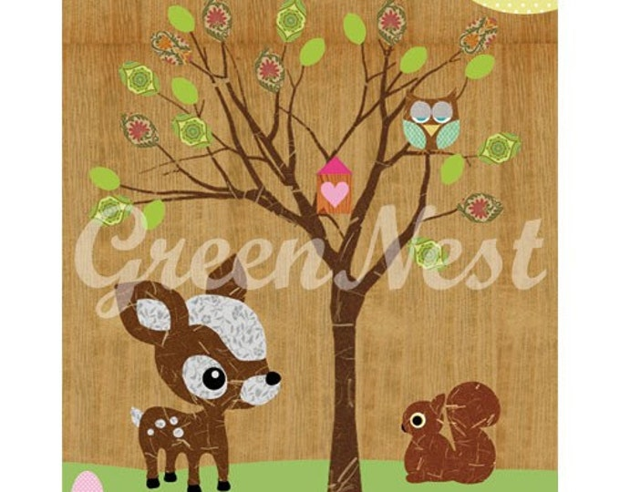 Cute forest friends - Owl, Squirrel, Deery, Bee and  Little Treehouse collage poster  print