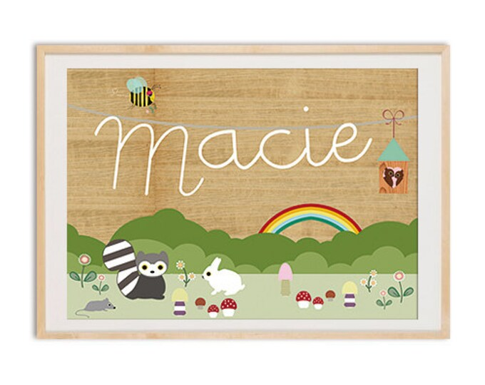 Personalised childs Name poster print with cute forest friends on wooden background, Nursery Art, Wall Art, Kids Room,