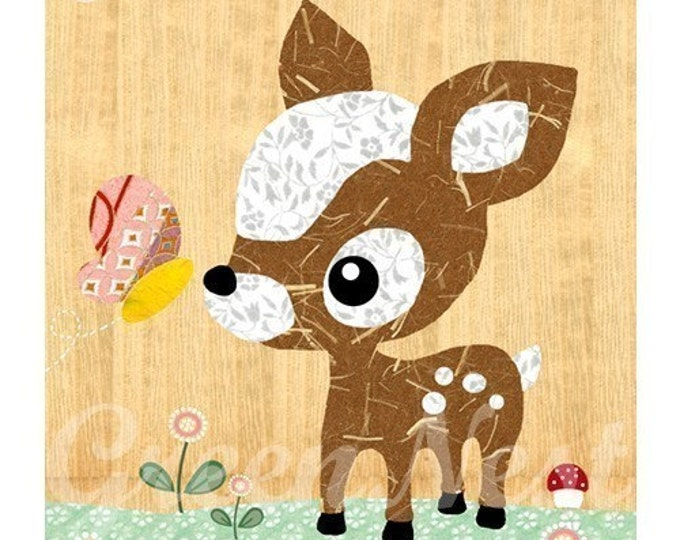 Cute forest friends -  Deery and Butterfly  collage poster  print on wooden background, nursery art