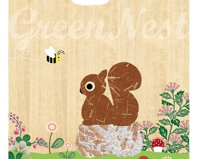 Squirrel and Bee Collage Poster Print
