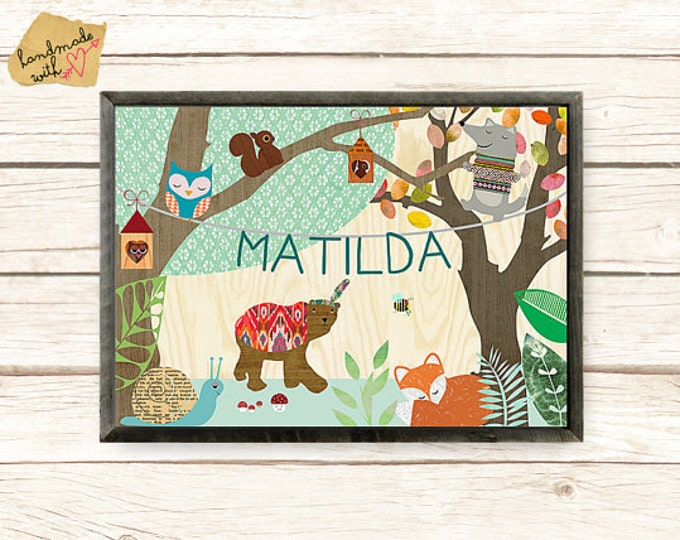 NEW A3 Size: Personalised Name poster with cute fox, wolf, bear, forest party,