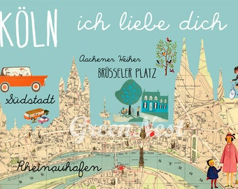 NEW A3 Size: Cologne I love you, Köln ich liebe dich Poster Print Collage, Wall ART, retro, vintage