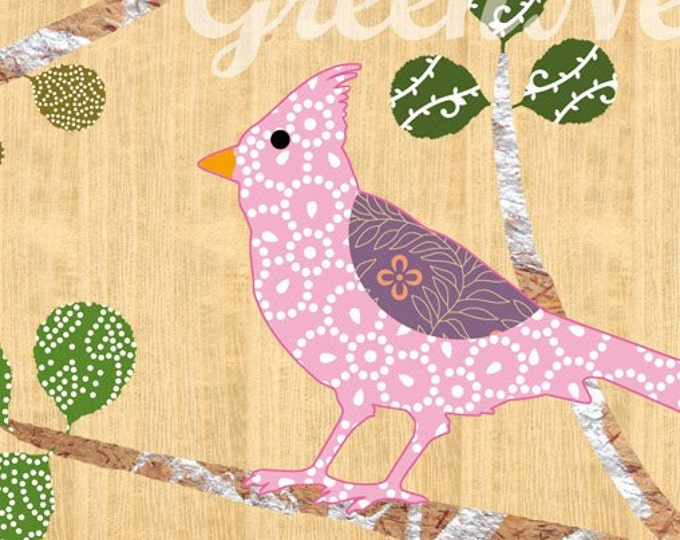 Pink Bird Collage Poster Print