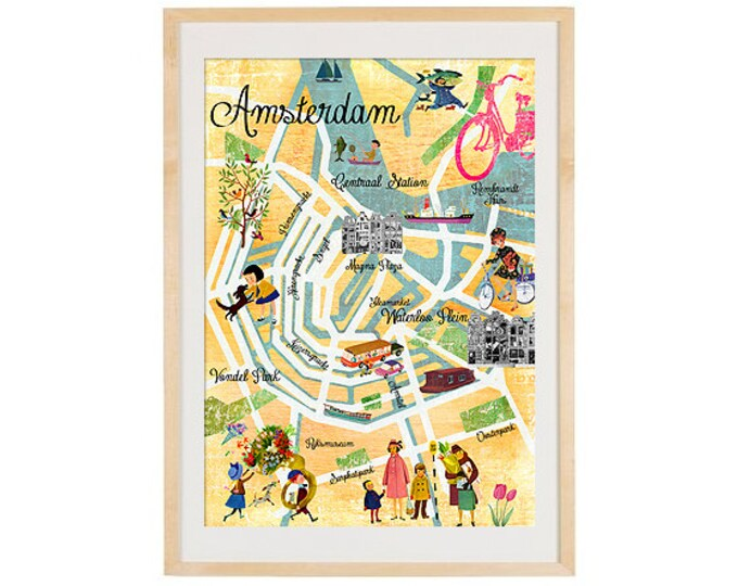 NEW A3 Size: Vintage Amsterdam Map Collage poster print, wall art