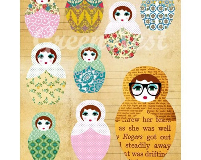 NEW A3 Format: Be different - russian doll nerd collage poster print