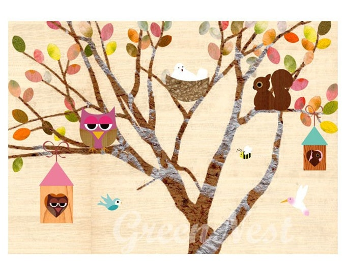 Happy Tree Collage Poster Print with cute forest friends on wooden background