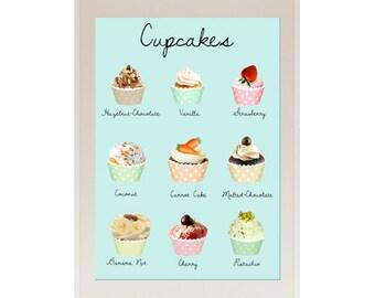 NUEVO tamaño de A3: Vintage Pastel Aqua y rosa Cupcakes cocina Collage Poster Print