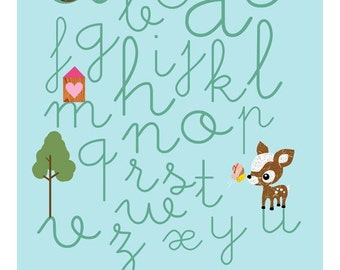 NEW A3 Size: Learn ABC with cute animals- Owl, Squirrel, Deery, bee and Little Treehouse collage poster print