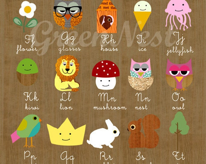 NEW A3 Size: learn abc with cute animals  on wooden background