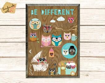 NUEVO formato A3: Ser diferente - búhos nerd collage poster print