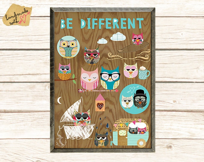 NEW A3 Format: Be different -  nerd owls collage poster print