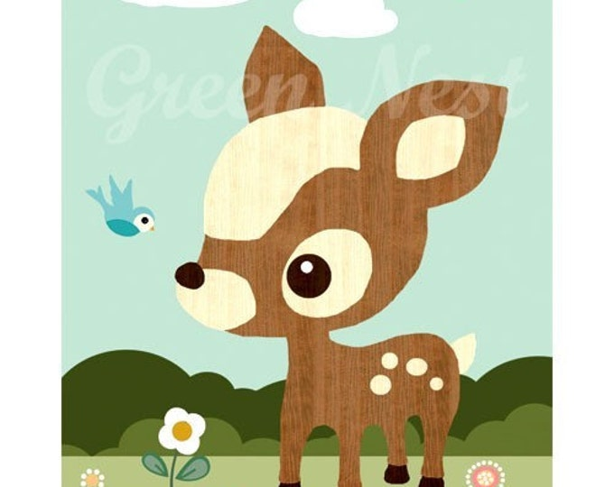 NEW A3 SIZE: Cute Vintage wooden Deery, Bluebird, Mushrooms, Flowers Collage Poster Print