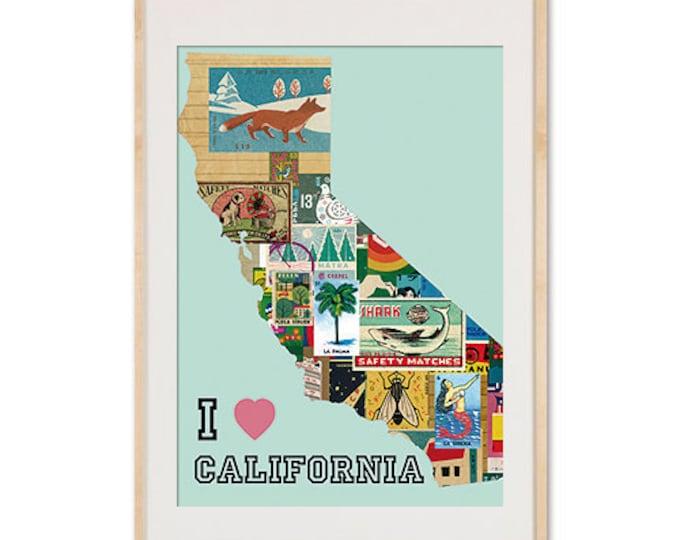 I love California Vintage Matchbox Collage Poster print