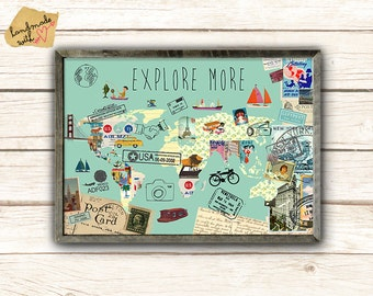 Explore More World Map Collage poster print from vintage paper