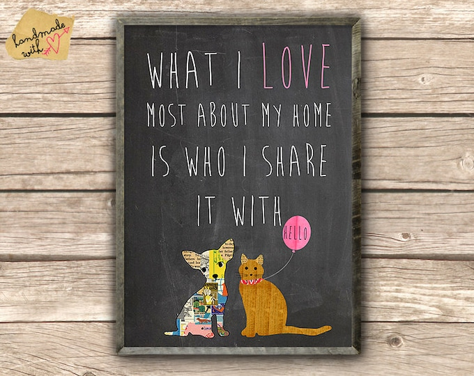 What I most love about my home is who I share it with  - dog and cat on chalkboard background