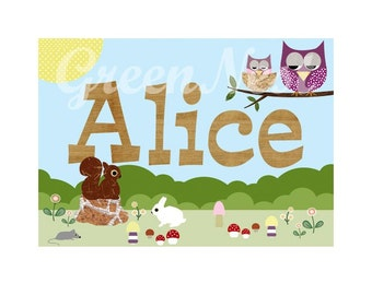 Personalised  wooden Name poster print with cute forest freinds- owl, bee, squirrel, rabbit