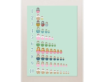 Counting in a row  with cute russian dolls collage poster  print