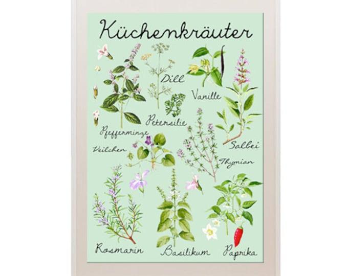 NEW A3 Size: Vintage kitchen german herb Poster Print -  Wallart, Decoration, botanical chart