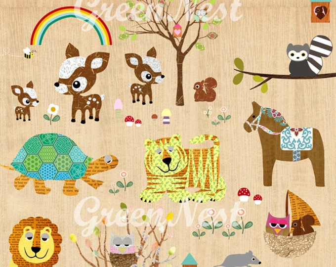 A3 Size: Animal Park Collage Poster print on wooden background