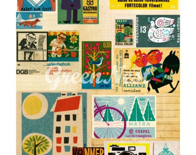 Vintage 70's Stamps and Matchbox Collage Poster Print