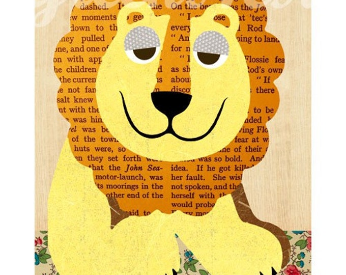 Cute Lion Collage poster print on wood