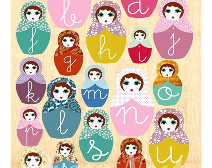 Learn abc with Russian dolls collage poster print