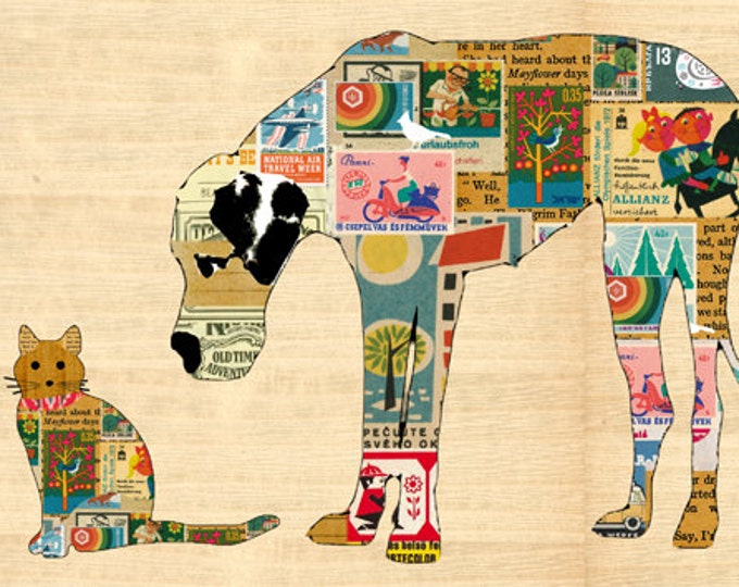 NEW A3 SIZE: Cute Great Dane and Cat  Poster Print on wood