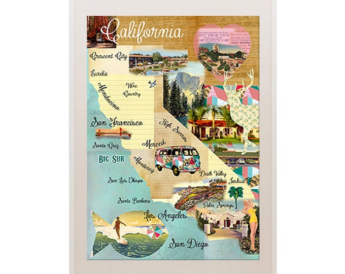 Vintage California Map Collage poster print on wooden background, geometric pattern, wall art