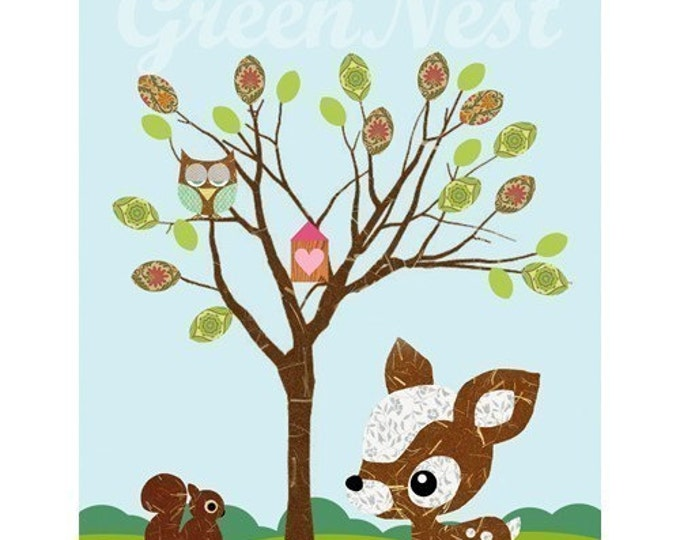 Cute forest friends - Owl, Squirrel, Deery and  Little Treehouse collage poster  print