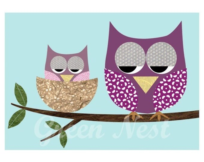 Mother and Baby Owl collage poster print